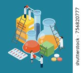 pharmaceutical production... | Shutterstock .eps vector #756820777