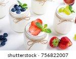 fresh yogurt. breakfast with... | Shutterstock . vector #756822007