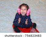 happy laughing toddler girl... | Shutterstock . vector #756823483