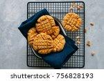homemade peanut butter cookies... | Shutterstock . vector #756828193