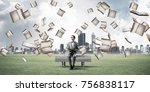 funny man in red glasses and... | Shutterstock . vector #756838117