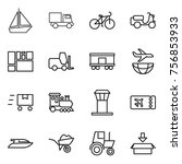 thin line icon set   boat ... | Shutterstock .eps vector #756853933