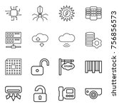 thin line icon set   chip ... | Shutterstock .eps vector #756856573