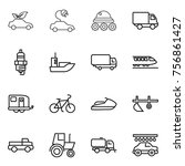 thin line icon set   eco car ... | Shutterstock .eps vector #756861427