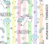 cute hand drawn unicorn vector... | Shutterstock .eps vector #756866023