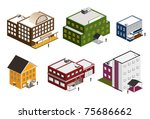 isometric building collection | Shutterstock .eps vector #75686662