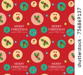 seamless pattern with santa... | Shutterstock .eps vector #756869137