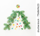 christmas tree made of branch... | Shutterstock . vector #756869623