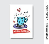 warm wishes card doodle winter... | Shutterstock .eps vector #756878827