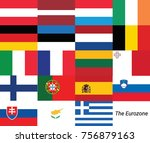 eurozone or euro area flags is... | Shutterstock .eps vector #756879163