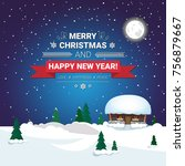 holiday poster merry christmas... | Shutterstock .eps vector #756879667