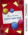 christmas tree balls on happy... | Shutterstock .eps vector #756880603
