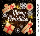 merry christmas card with... | Shutterstock .eps vector #756880633