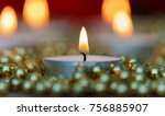 christmas candles with golden... | Shutterstock . vector #756885907