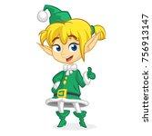 cute santa helper girl shows on ... | Shutterstock .eps vector #756913147