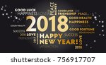 happy new year 2018 background... | Shutterstock . vector #756917707