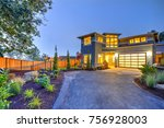 beautiful curb appeal of a... | Shutterstock . vector #756928003