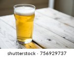 close up on a backlit beer... | Shutterstock . vector #756929737