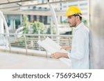 engineer man wearing safety... | Shutterstock . vector #756934057