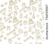christmas background hand drawn.... | Shutterstock .eps vector #756939007