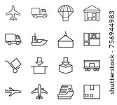 thin line icon set   plane ... | Shutterstock .eps vector #756944983