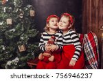 merry christmas and happy... | Shutterstock . vector #756946237