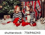 merry christmas and happy... | Shutterstock . vector #756946243