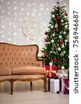 christmas background   interior ... | Shutterstock . vector #756946687