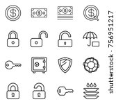 thin line icon set   dollar ... | Shutterstock .eps vector #756951217