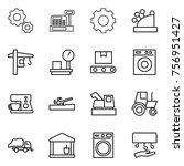 thin line icon set   gear ... | Shutterstock .eps vector #756951427