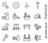 thin line icon set   gear ... | Shutterstock .eps vector #756951433