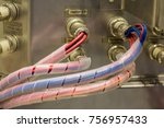 electric wiring with cable cord ... | Shutterstock . vector #756957433