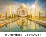 the taj mahal is an ivory white ... | Shutterstock . vector #756964357