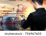 business man use smart phone... | Shutterstock . vector #756967603