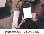 top view mockup image of a...   Shutterstock . vector #756988207