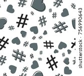 hashtag and heart seamless... | Shutterstock .eps vector #756990643