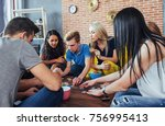 group of creative friends... | Shutterstock . vector #756995413