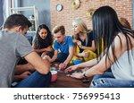 group of creative friends... | Shutterstock . vector #756995413