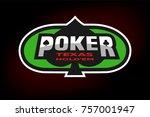 texas holdem poker emblem on... | Shutterstock . vector #757001947