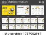 desk calendar 2018 template.... | Shutterstock .eps vector #757002967