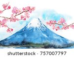 Mount Fuji And Cherry Blossoms...
