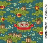 seamless pattern design. merry... | Shutterstock .eps vector #757008073