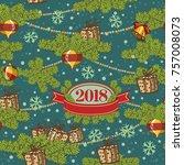seamless pattern design. merry... | Shutterstock .eps vector #757008073