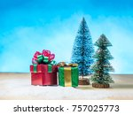 beautiful gift box on snow ... | Shutterstock . vector #757025773