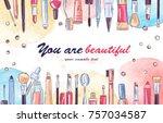 watercolor sketch of cosmetics... | Shutterstock .eps vector #757034587