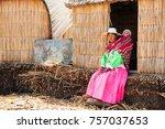 titicaca lake  puno  peru  ... | Shutterstock . vector #757037653