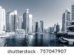 scenic view of dubai marina in... | Shutterstock . vector #757047907