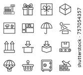 thin line icon set   cashbox ... | Shutterstock .eps vector #757054357