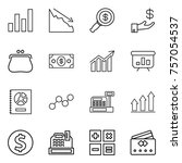 thin line icon set   graph ...   Shutterstock .eps vector #757054537