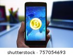 cryptocurrency bitcoin symbol... | Shutterstock . vector #757054693